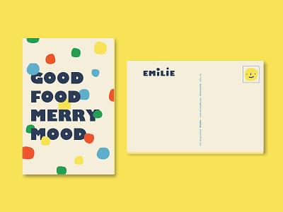 Emilie Postcard copywriting restaurant branding colors design branding food postcard