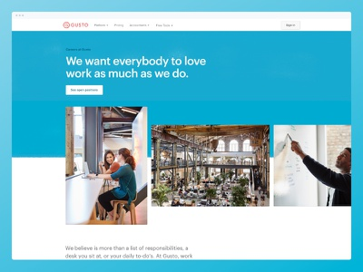New Careers page! 💼 gusto product web design agency jobs careers web design