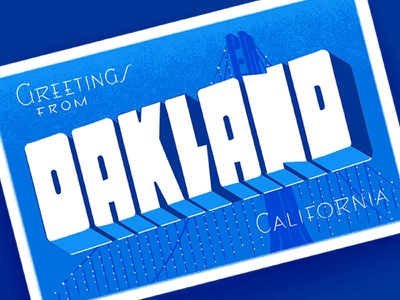 Oakland Postcard Illustration graphic design vintage postcards bay bridge bridge postcard california oakland illustration