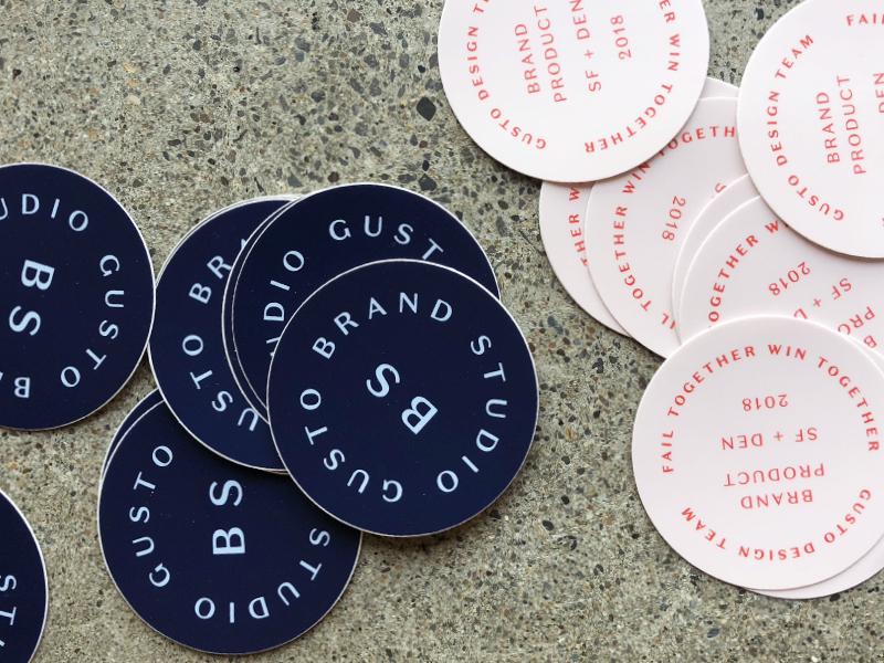 Gusto Design Stickers swag product design logo seal design team gusto brand stickers