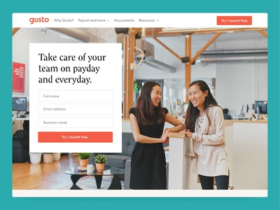 Gusto.com redesign website design illustration gusto rebrand redesign website