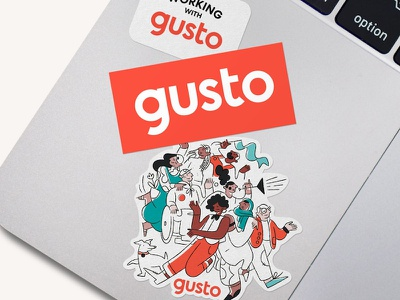 Gusto stickers illustration swag rebrand gusto stickers