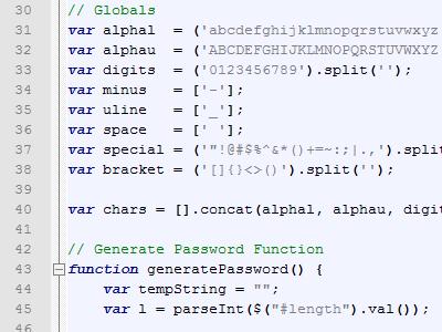 Password Generator javascript password generator jquery source code