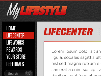 Fitness Web Application ui web app tungsten united leather texture logo navigation