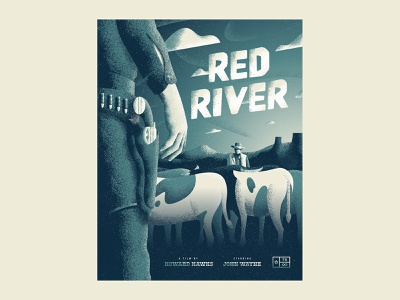Texas Forever Project - Red River art white vector blue side project vintage illustration texture texas classic western john wayne poster
