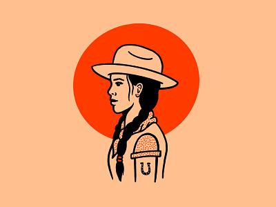 Texas Sun cowgirl red orange horseshoe stetson open road texas sun sun woman leon bridges art design illustration texas