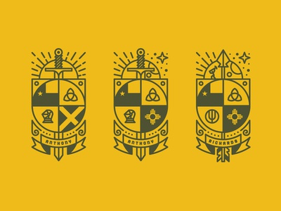 Coat Of Arms: ME • US • HER sword coat of arms yellow green arrow texas new mexico knight farming god holy trinity christian worker sun moon day night banner ribbon