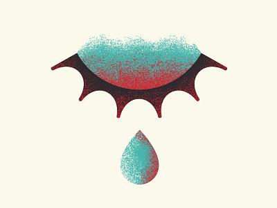 Chapter 9 hurt tear eye teal vintage art design texture vector illustration red