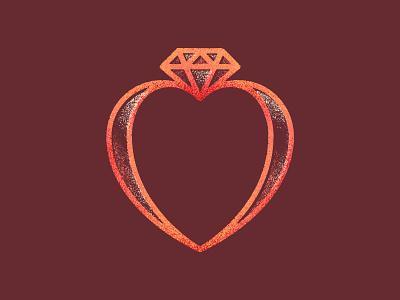 Unused marriage conference icon marriage diamond heart ring vintage design logo vector branding art texture illustration