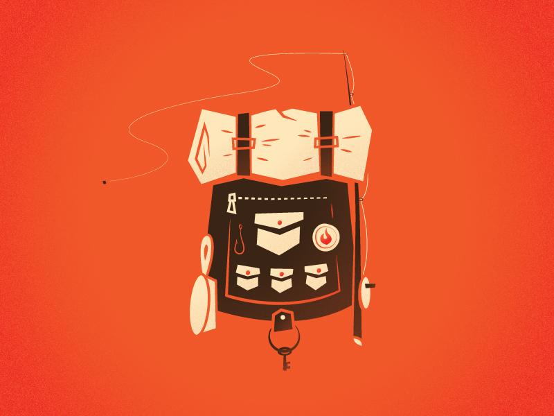 Camping Backpack camping vintage orange brown tan fishing key pan pocket ziper tent