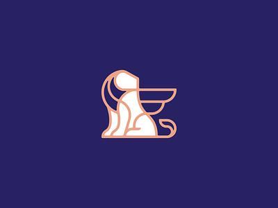 R.I.P. lion marks white branding roar wings tan blue logo vector