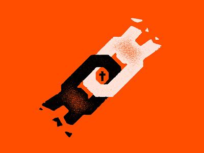 Break The Chains My Friends! orange cross god is love god vintage design black and white vector art illustration texture