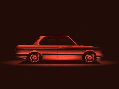 BMW M5 E28 1986 classic silver motorsport car bmw color design vintage art illustration texture red vector