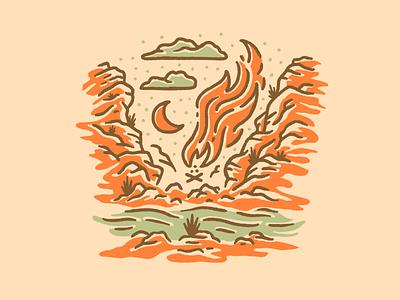 Death Valley sketch star green orange fun hand drawn southwestern plants cliffs stars night clouds moon fire skull procreate art illustration