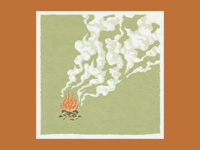 Fire and Smoke paper camping brown orange green wood fire smoke procreate vintage art design texture illustration