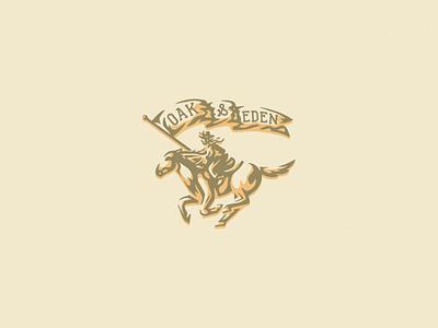 Oak & Eden cowboy horse whiskey art western vintage illustration texture vector