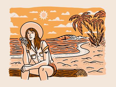 Oak & Eden beach vibes cowgirl girl orange sun palm tree hand drawn procreate design vintage art illustration texture vector