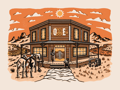 Oak & Eden Saloon mountains dessert whiskey clouds sun orange horse saloon western procreate vector design vintage texture illustration