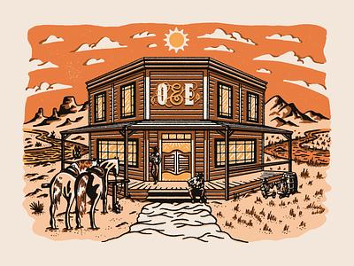 Oak & Eden Saloon mountains dessert whiskey clouds sun orange horse saloon western procreate vector design vintage texture illustration