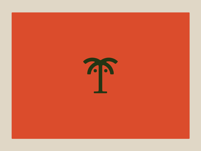 O&E Icons cream red green icon set palmtree iconography vintage texture vector illustration