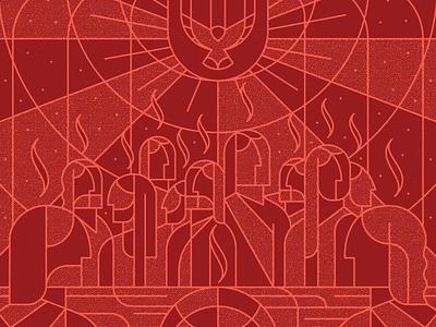 Seasons: Pentecost red holy spirit line art stained glass design art texture illustration vector