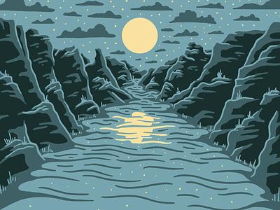 Big Bend orange procreate blue stars night national park river big bend design art texture illustration vector
