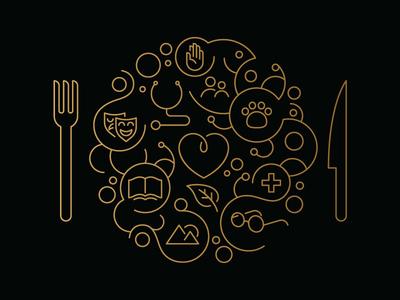 Donor dinner invite illustration plate knife fork book heart leaf land glasses paw hand illustration foil stamped