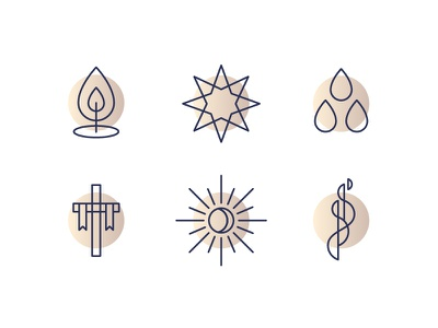 Church Calendar Icons epiphany pentecost easter advent lent resurrection blood drops candle holy spirit star cross line work