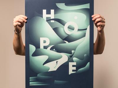 Seasons: Hope poster screen print god mountains water man green hope