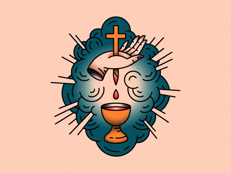 Possible tattoo cross holy grail resurrection blood jesus hand black red gold blue tattoo
