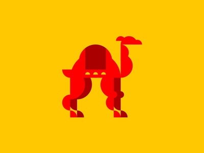 Unused Camel for a thing illustration camel yellow maroon red half circle