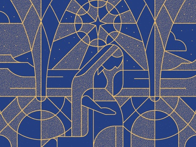 Seasons: Advent 1 texture modern stained glass line art blue gold advent night star mary