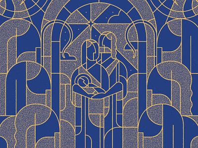 Seasons: Advent 2 jesus gospel shepard trumpet sky star adventure blue gold stained glass modern line art joseph mary