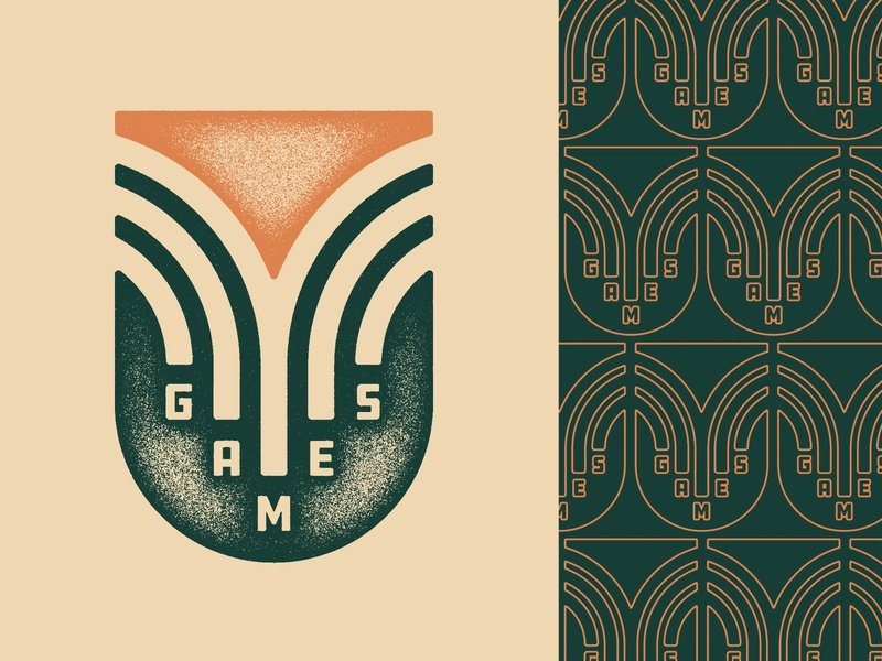 V Games 2019 students fun graphic design texture vector art pattern vintage off white orange green games v