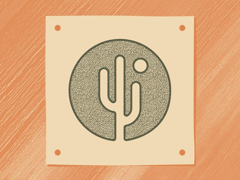Cactus Art stipple circle cream texture green orange sun cactus