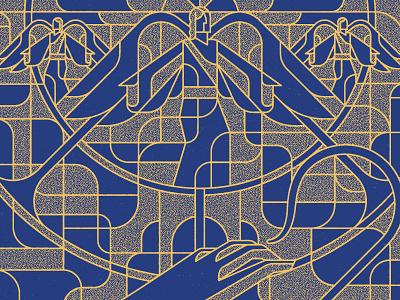 Seasons: Advent 4 jesus heavenly host trumpet textures gold blue line art shepards cane hand angels