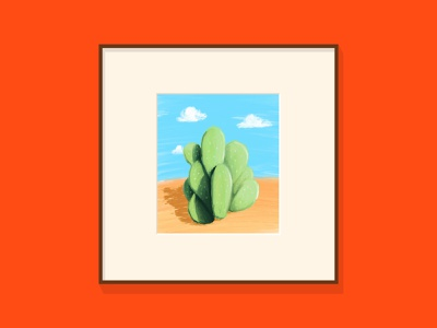 Cactus fun prickly pear shadow frame art procreate clouds green brown blue red cactus