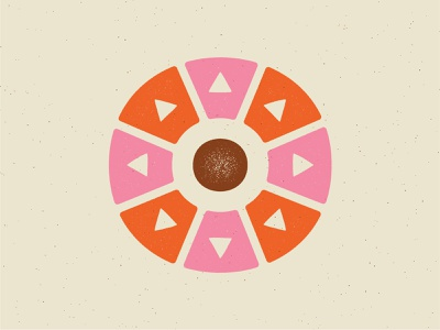 The sun because it's always HOT here in Texas... summer vintage texture circle triangle off white brown pink red hot sun