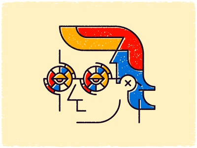 ALL OUT yellow blue red vector illustration mouth nose eyes hair texture color glasses