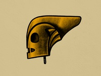 """PLAYOFF"" Favorite Hero Helmet (RESURRECTED) design illustration gold fun texture vintage handrawn procreate retro helmet graphic art rocketeer"