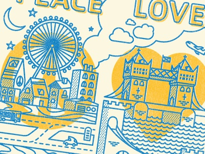 Peace love travel postcard
