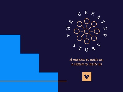 The Greater Story Branding jesus branding design vision mission logo blue and white navy blue clean gold