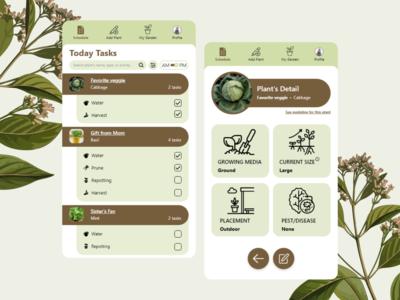 Plant Planner ux mobile planner app earth tone gardening ui