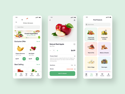 Grocery Shopping App design ux app design clean ui ui design uiux minimal trend 2021 trendy delivery app grocery delivery grocery shopping
