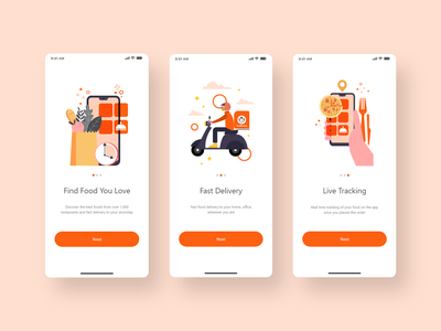 Food Delivery App Onboarding food app design app design ux clean ui uiux ui design minimal clean delivery app onboarding screen delivery food food app food delivery application food delivery
