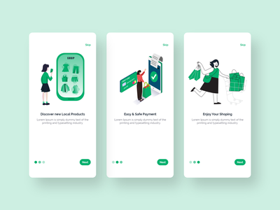 Ecommerce App Onboarding mobile app design mobile app ui illustration ux design clean ui clean minimal uiux ui design shopping app ecommerce ecommerce app