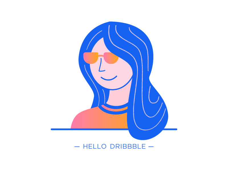 Hello Dribbble :) self-portrait illustration hello dribbble first shot debut
