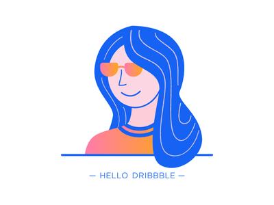 Hello Dribbble :) self-portrait illustration hello dribbble first shot debut