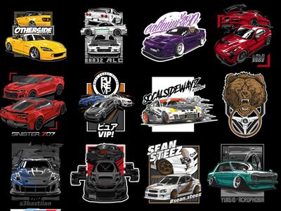 Automotive Vector art collage vectorart illustration