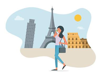 EU Roaming mobile phone woman europe colloseum pisa eiffel tower flat colour illustration character idmobile eu roaming